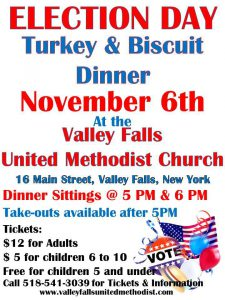 Election Day Turkey and Biscuit Dinner @ Valley Falls United Methodist Church | Valley Falls | New York | United States