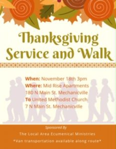 Thanksgiving Service and Walk @ Mechanicville | New York | United States